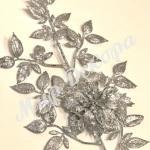 Новогоднее украшение «Ветка с пуансетией» . Серебро. 2 шт