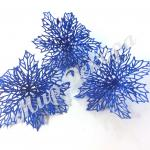 Голова пуансетии в глиттере. Синяя 12 шт