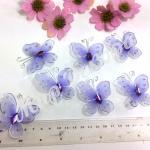 Бабочки из органзы 5,5 см. 20 шт. Лавандовые.