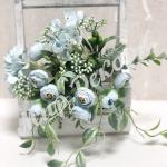 Букет роз с гортензией и добавками. Голубая пудровая.