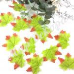 Листья осенние одинарные. Зеленые. 50 шт