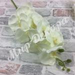 Ветка орхидеи сатиновая. Белая.