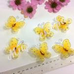Бабочки из органзы 5,5 см. 20 шт. Желтые.