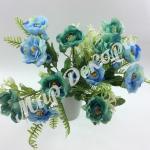 Букет розы «Рококо « с папоротником. Голубой.