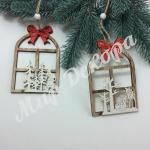 Декор новогодний « Окно в лес». 4 штуки.