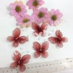 Бабочки из органзы 5,5 см. 20 шт . Красные