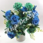 """Букет розы «Cesar """" с гипсофилой. Голубой мята."""