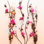 Спираль цветок тканевый малиновый (набор 3 шт.)