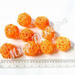Шар ротанговый 5 см. Оранжевый  20 шт.