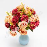 Букет роз, бордо-шампань