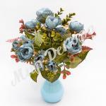 Букет розы пионовидной, голубой