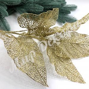 Ветка диффенбахии большая на 5 листов в глиттере. Золото.