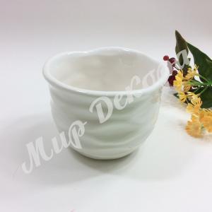 Кашпо керамическое, белое « Волна»
