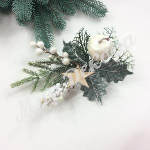 Новогоднее украшение. Веточка с белым яблоком. 6 штук