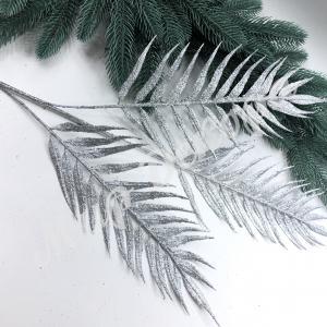 Ветка пальмы в глиттере 70 см . Серебро