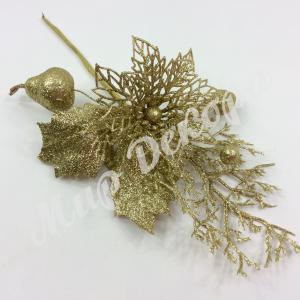 Бутоньерка золотая с пуансетией и грушей. 6 штук