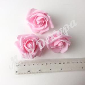 Голова розы латексная 6 см. Бледно - розовая. (12 шт)