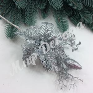 Бутоньерка серебрянные с пуансетией и листом коралла. 6 шт
