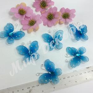 Бабочки из органзы 5,5 см. 20 шт. Голубые.