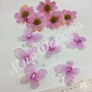 Бабочки из органзы 5,5 см.  20 шт. Сиреневые.