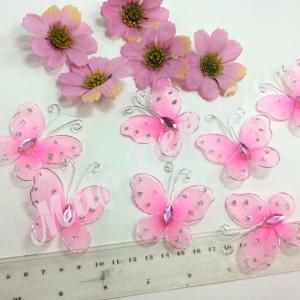 Бабочки из органзы 5,5 см. 20 шт . Розовые.