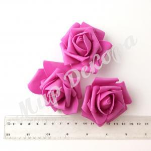 Голова розы латексной. 6 см. Ярко- розовая. 12 шт.