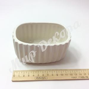 Кашпо керамическое овальное , белое.