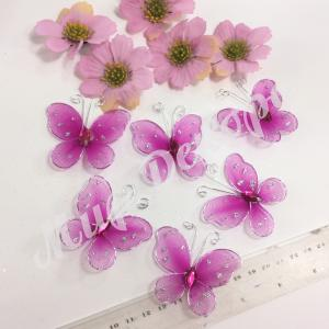 Бабочки из органзы 5,5 см. 20 шт. Фуксия.