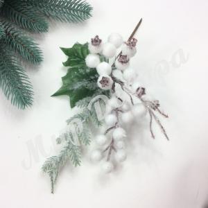 Новогоднее украшение.Шиповник белый. 6 шт.