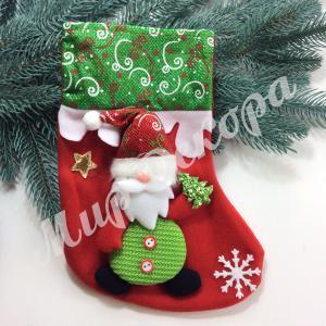 Носок новогодний для подарков с елкой. Дед Мороз.