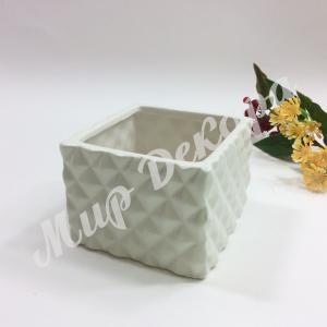 Кашпо керамическое, белое «Грани»