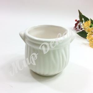 Кашпо керамическое, белое «Горщик»